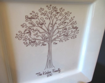 Family Tree Platter in Hand Drawn Style