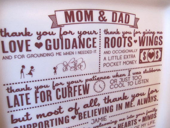 Thank You Letter For Wedding Gift: Parent Wedding GiftThank You Platter From Bride And Groom