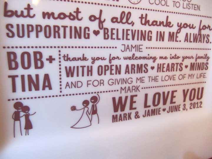 Thank You Gifts For Parents At Wedding: Parent Wedding GiftThank You Platter From Bride And Groom