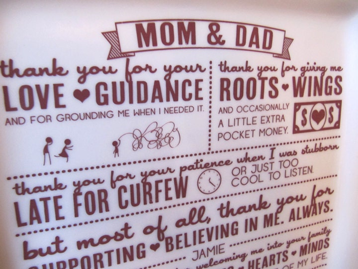 Thank You Message Wedding Gift: Parent Wedding GiftThank You Platter From Bride And Groom