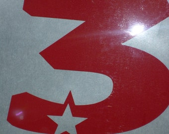 Birthday number 3 star iron on shirt decal transfer