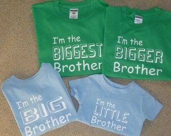 Little Big Bigger Biggest Brother Lot Of 4 Shirts