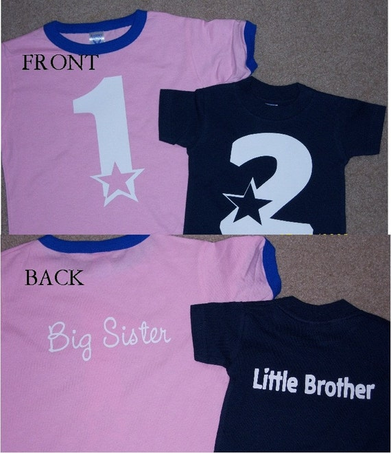 Big Little Brother Sister matching shirts set of 2 with numbers