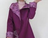 Felted FUCHSIA COAT  lilac violet purple wool silk merino fall spring autumn owercoat outerwear jacket