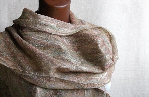 Felt wool scarf OCTOBER thin cobweb lace women scarves