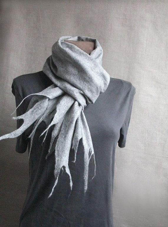 men wool felted scarf LIGHT GRAY winter felt scarf warm women men scarves