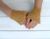 Victorian Gloves Lace Gloves Mustard Yellow Sparkling Crocheted Gloves Pearl Buttons Gold Citrine Bridesmaid gift