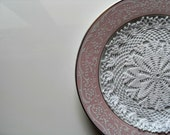 Hand Crocheted Doily Gift For Mothers Day Made of  White Cotton Yarn Circle Disc Round