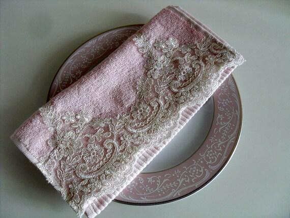 Light Pink Bamboo Lace Towel Romantic Home Decor 30x50 cm Blush Powder Pink