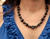 Fluted Pewter Metal Bead Necklace on Black Organza Ribbon