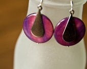 Purple Shell and Silver Teardrop Dangle Earrings