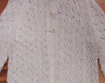 Hand knit white cotton lacy sweater