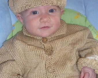 hand knit sweater and hat in cotton