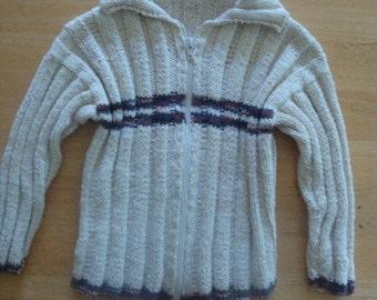 Little boy hand knit cotton sweater