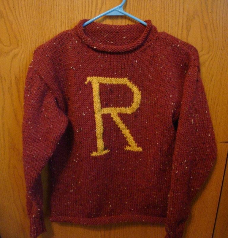 Knitting Pattern Harry Potter Jumper : Custom hand knit Weasley Sweater by jmrm on Etsy