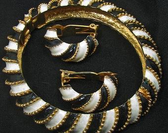 Vintage K.J.L. Hinged Bracelet and Earrings
