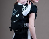 FREE SHIPPING WORLDWIDE Black and white elegance HUNBABA mei tai baby carrier