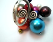 Cocktail Ring - Hill Tribe Silver- Retro Christmas Ornament Glass Pearl Cluster - Size 7.5
