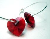 Earrings - Ruby Red Swarvoski Crystal Hearts