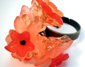 Adjustable Ring - Peach and Orange Flower Bouquet - Adjustable Brass Plated
