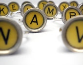 Adjustable Ring - RARE Yellow Vintage Smith-Corona Typewriter Key  - Alphabet Letters