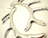 Statement Earrings - Silver Deer Antler Charms