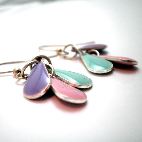 Earrings - Cascading Raindrops - Candy Drop Epoxy Beads in Pastel Aquamarine, pink and lavendar