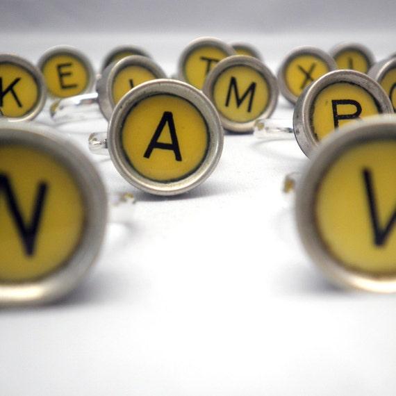 Adjustable Ring - RARE Yellow Vintage Smith-Corona Typewriter Key  - Alphabet Letters