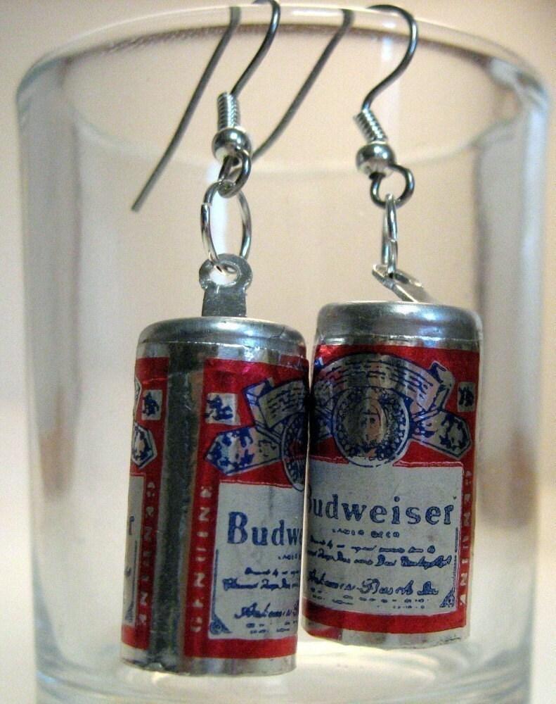 Earrings Budweiser Beer Can Charms