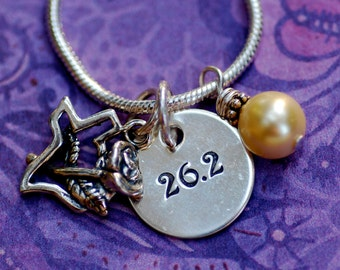 Texas Marathon (26.2) Necklace in Sterling Silver with Yellow Sea Shell Pearl