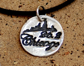 Chicago Marathon Necklace in Fine Silver on a Black Rubber Cord with Sterling Lobster Clasp
