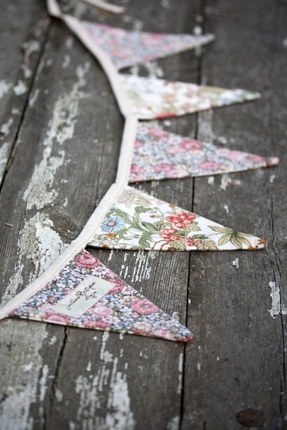 Floral Fabric Bunting in Rustic Country Cottage / Party / Decoration / Banner / Home