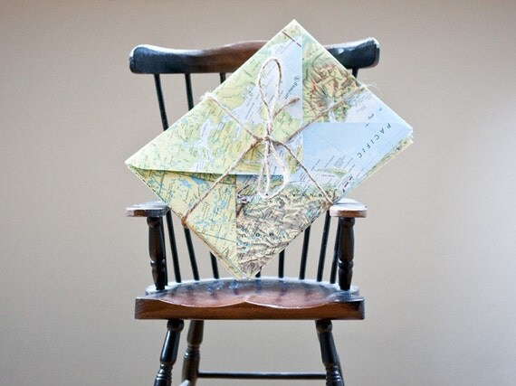 Upcycled Map Envelopes from Vintage Atlas Pages Set of 6 (C6)