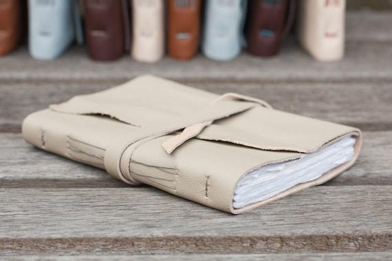 Green Leather Sketchbook or Journal in Pale Olive Green - Handbound Book - Cotton Rag Paper