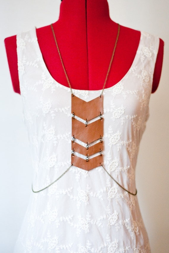 Reclaimed Leather Body Harness on Antique Style Gold Chain. No.01 Tan Chevron