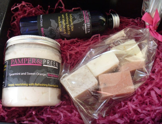 Black Gift Box Set- Spearmint Sweet Orange Body Butter, Bath Oil and Cold Process bag of 4 Soap Chunks