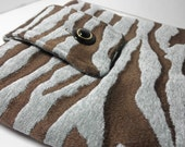 Zebra iPad Sleeve Blue and Brown Chenille
