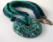 Bangle Necklace -  Handmade Polymer Clay Pendant with Long Knitting Ribbon Cord