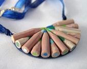 Unusual Half-circle Necklace -  Handmade Polymer Clay Faux Pencil  necklace