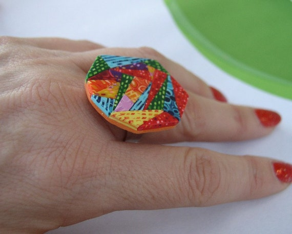 Geometric Polymer Clay Ring