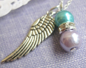 Miscarriage, loss. Angel wing glass pearl memorial necklace. CHOOSE your month choice.