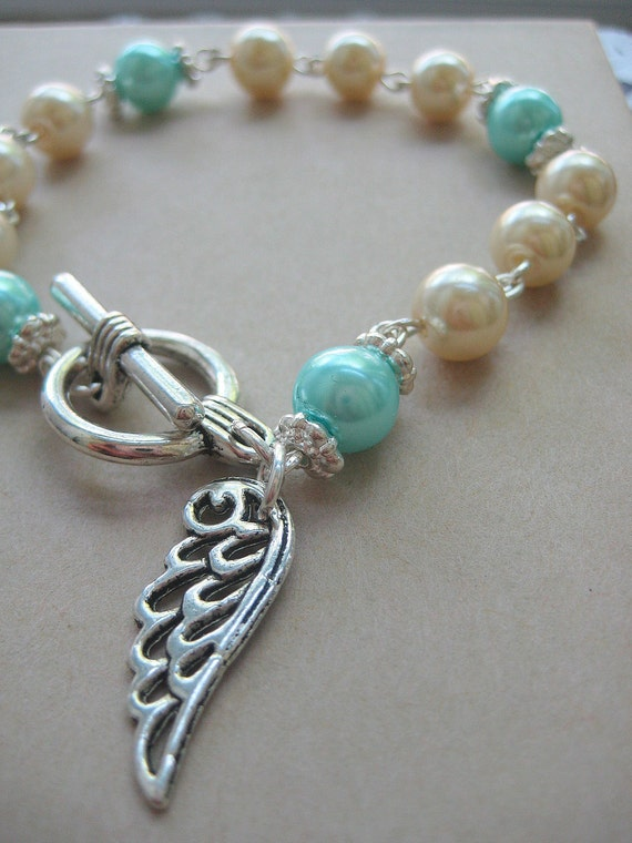 Miscarriage, loss, angel wing, glass pearls bracelet. CHOOSE month