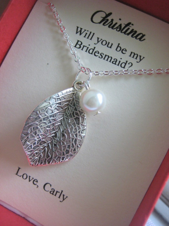 Ask Bridesmaids bridal wedding gift. Leaf necklace ivory pearl. CHOOSE your leaf style.