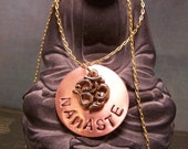 Hand Stamped Namaste Necklace with om symbol