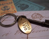 Accio Keys Keychain... Key Summoning Keyring...With Skeleton Key and Brass Charm