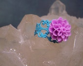 Flower Ring in lilac with blue  Adjustable band... Colorful and Romantic
