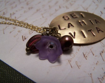 Italian Necklace...Sei La Mia Vita (You Are My Life) in Purple