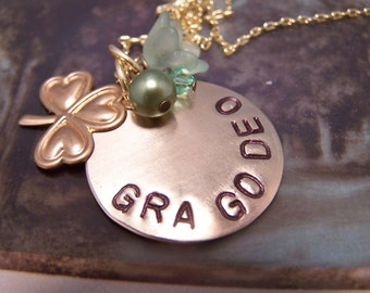 Gra Go Deo Irish Gaelic Necklace ... Love Forever ...Shamrock