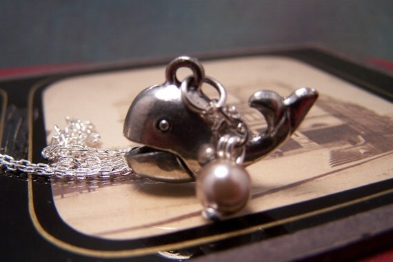 Baby Beluga Whale Necklace with Pearl Bubble
