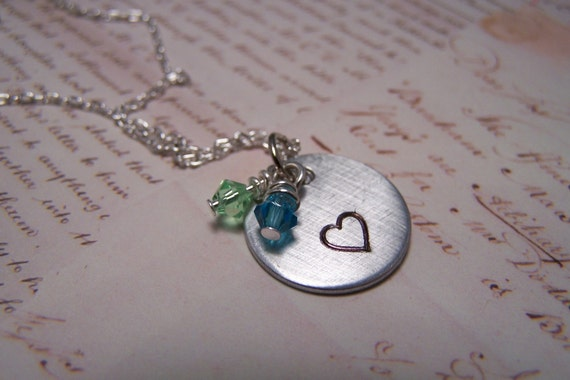 Handstamped Heart with Two Birthstones Necklace
